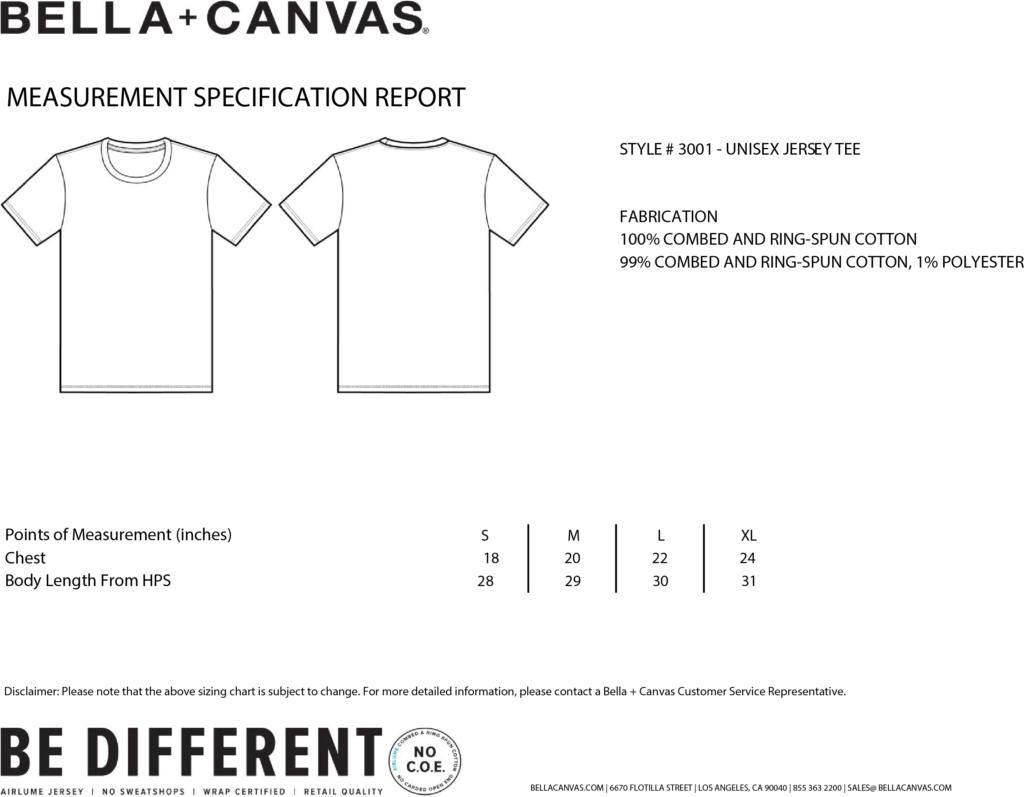Bella Canvas #3001 Size Chart